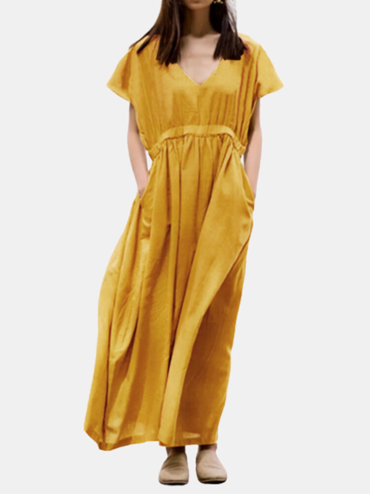 Best Casual Solid Color V-neck Loose Plus Size Dress You Can Buy