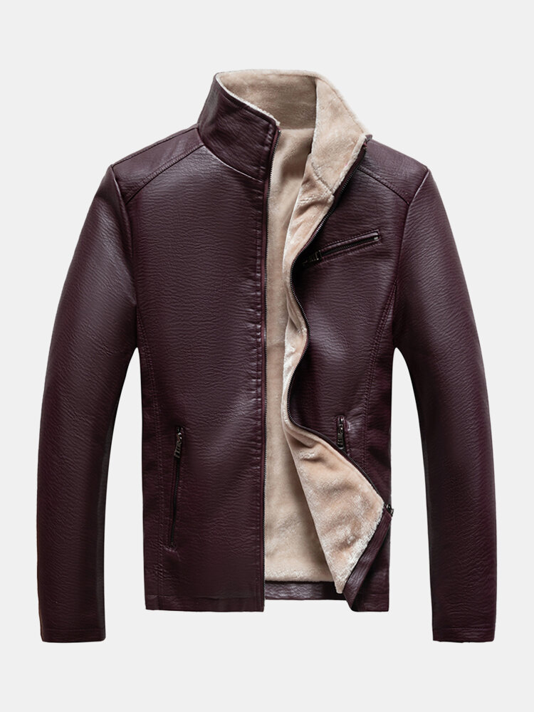 Best Mens Solid PU Leather Zip Front Stand Collar Thicken Biker Jackets You Can Buy