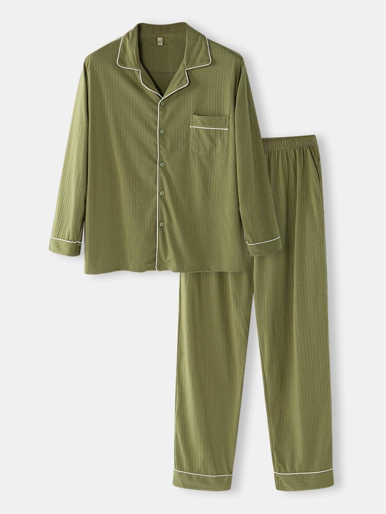 Best Mens Green Pinstripe Loungewear Long Sleeve Lapel Cotton Pajamas Sets You Can Buy