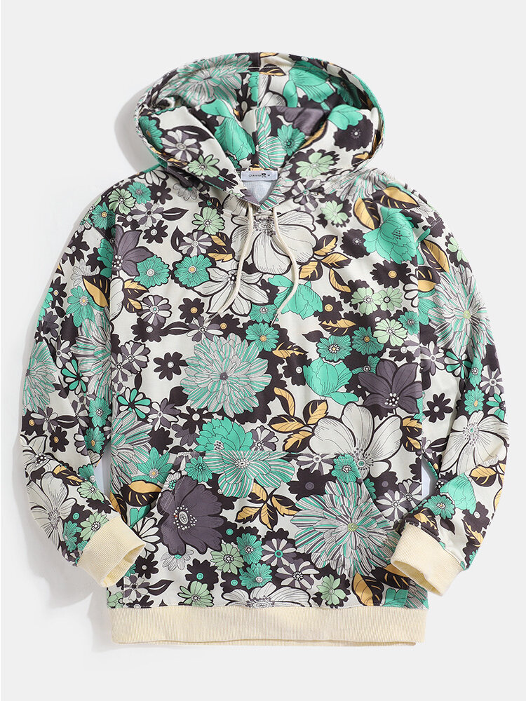 Best Mens Allover Floral Print Drawstring Hoodies With Kangaroo Pocket You Can Buy
