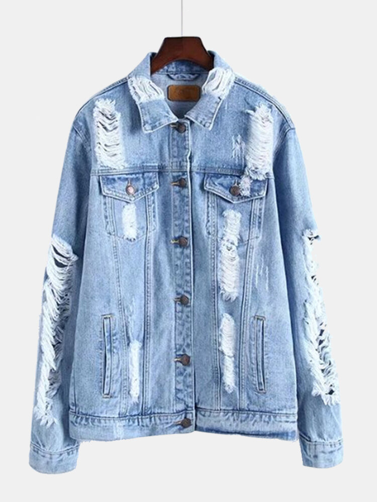 Best Ripped Solid Color Long Sleeve Denim Coat You Can Buy