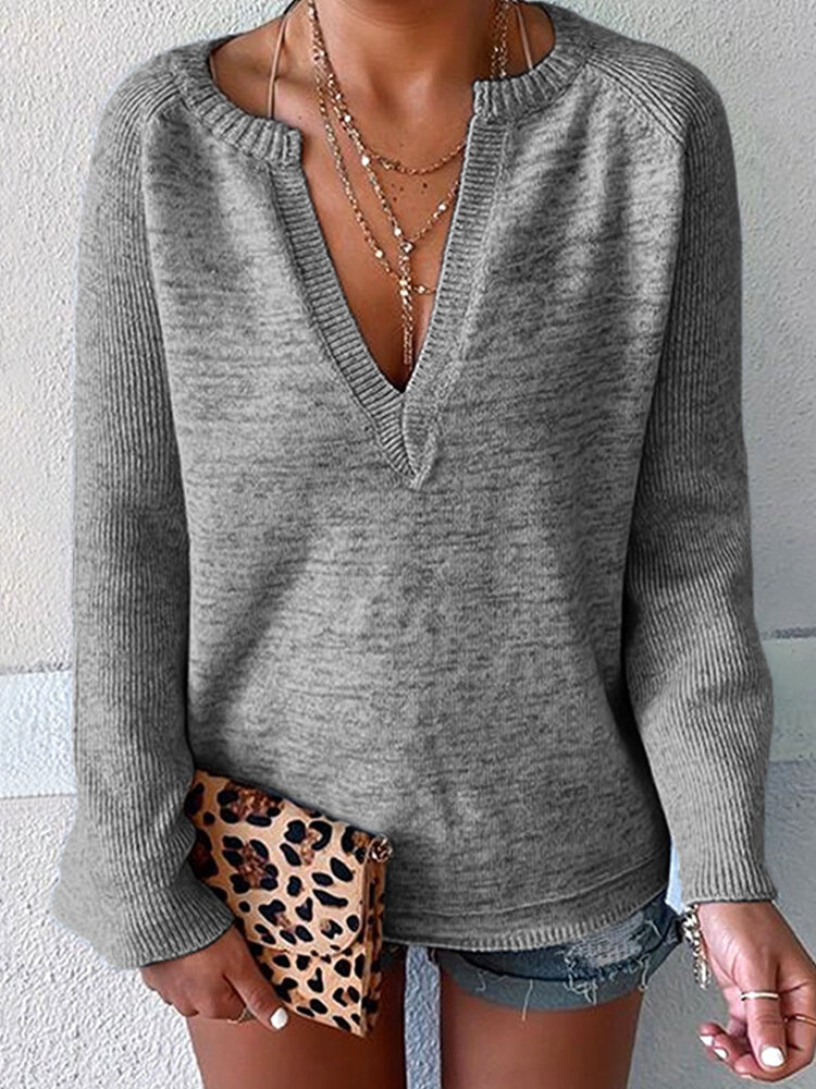 Best Solid Color V-neck Trumpet Sleeve Sweater You Can Buy