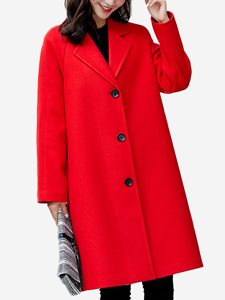 Best Solid Color Turn-Down Collar Wool Blend Coat You Can Buy