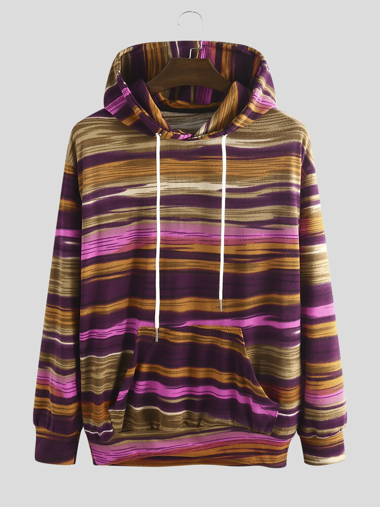 Best Mens Multi-Color Irregular Striped Knitted Drawstring Hoodie You Can Buy