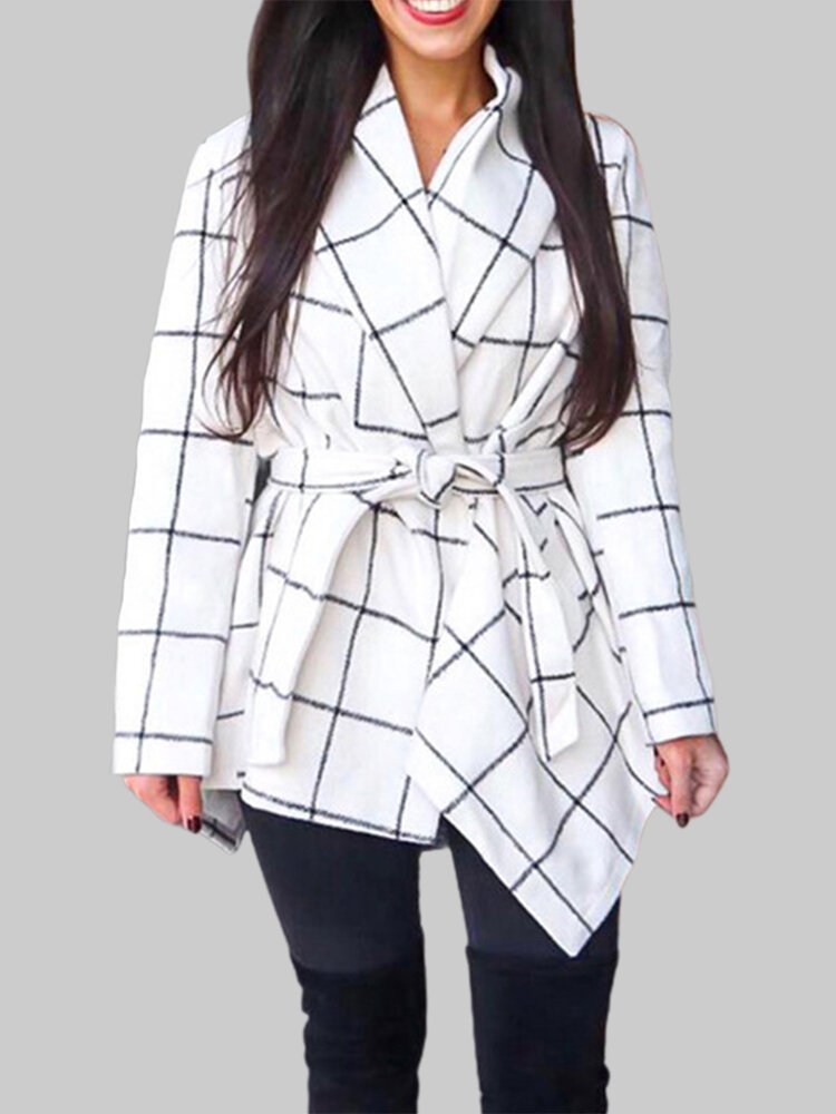 Best Plaid Bandage Long Sleeve Lapel Casual Coat For Women You Can Buy