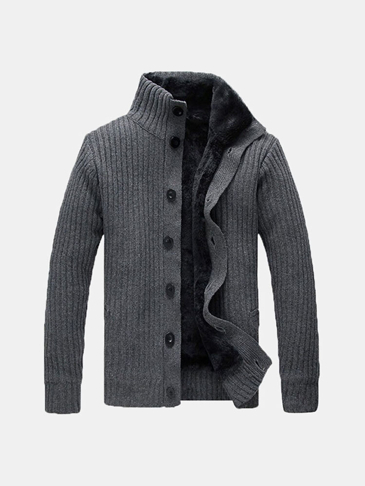 Best Mens Solid Thicken Sweater Stand Collar Thermal Cardigan You Can Buy