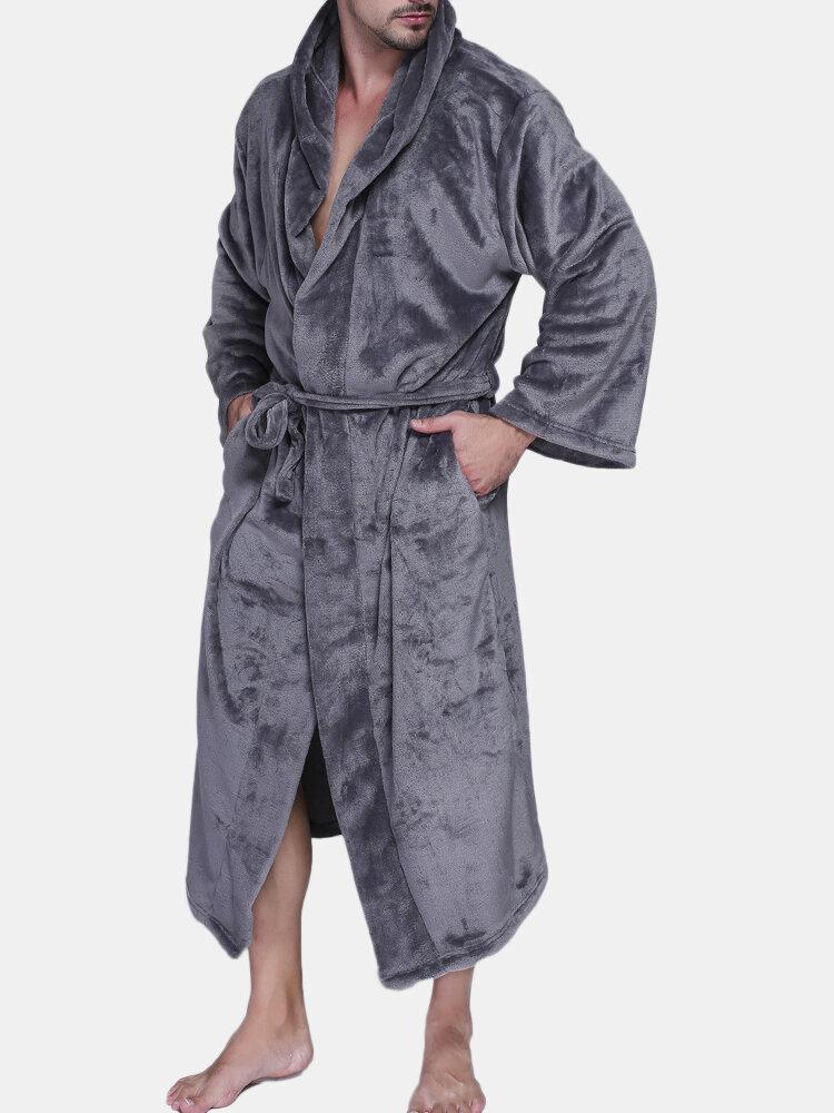 Best Men Pure Color Thicken Velvet Fleece Sleepwear Comfy Soft Hooded Pajamas You Can Buy