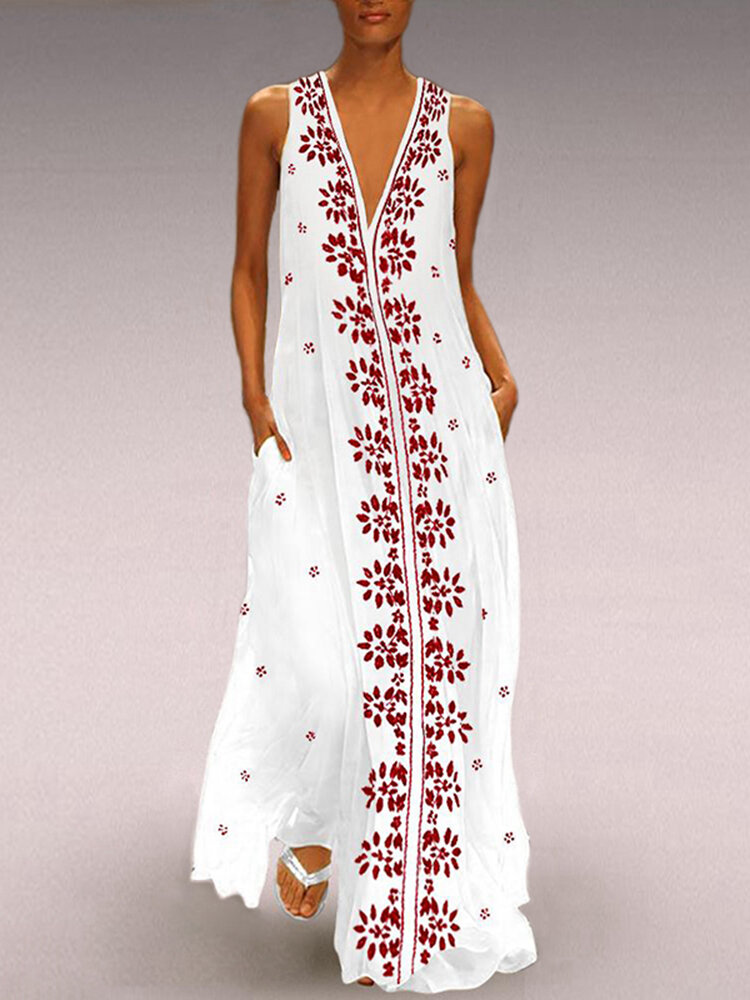 Best Floral Print V-neck Sleeveless Plus Size Maxi Dress You Can Buy