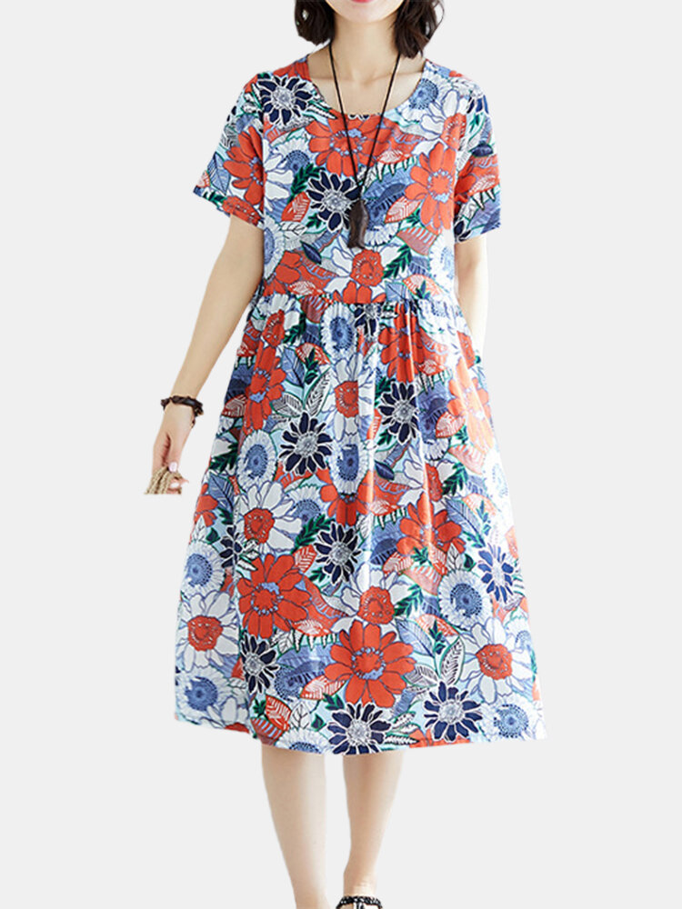 Best Flower Print Round Neck Short Sleeve Casual Dress You Can Buy