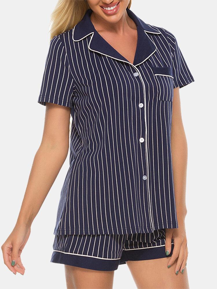 Best Women Striped Cotton Pajamas Set Lapel Neck Short Sleeves Casual Summer Sleepwear You Can Buy