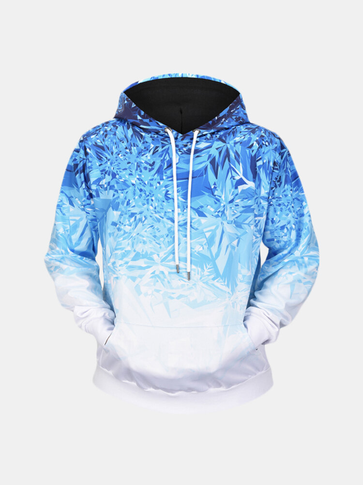 Best Men's Ice Crystals 3D Printing Long Sleeve Casual Fashion Drawstring Hooded Tops You Can Buy