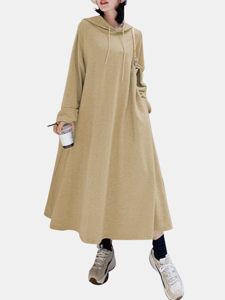 Best Solid Color Hooded Pockets Casual Loose Long Hoodie Dress You Can Buy