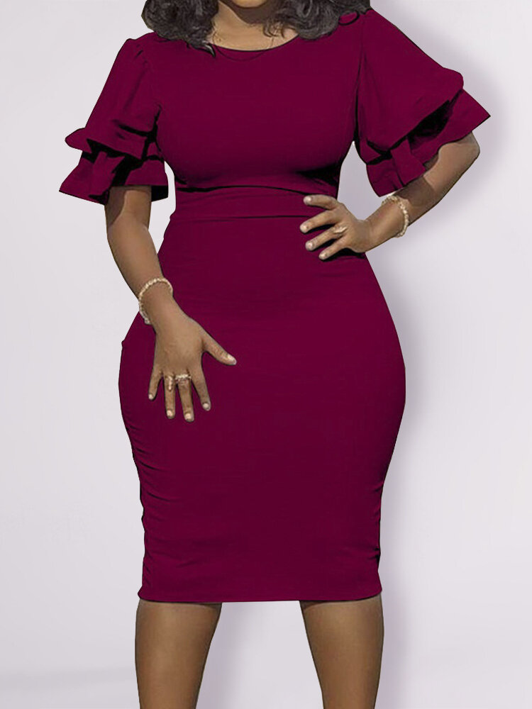 Best Vintage Bubble Sleeve O-neck Plus Size Dress You Can Buy