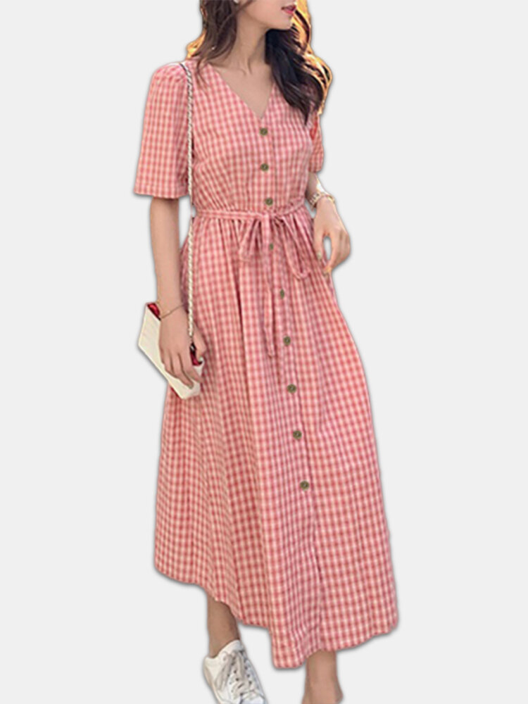 Best Plaid Button V-neck Belted Short Sleeve Plus Size Dress You Can Buy