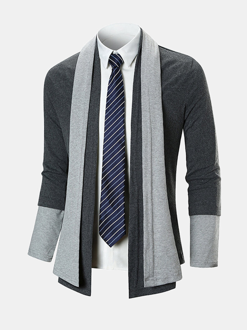 Best Mens Slim Fit Knit Patchwork Long Sleeve Casual Mid Long Cotton Cardigans You Can Buy