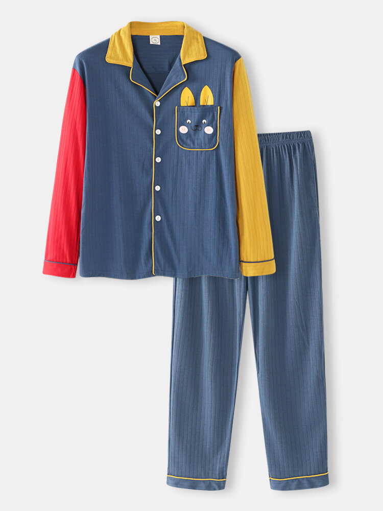 Best Cotton Contrast Patchwork Sleeve Loungewear Sets Comfy Shirts Design With Cute Rabbit Pockets You Can Buy