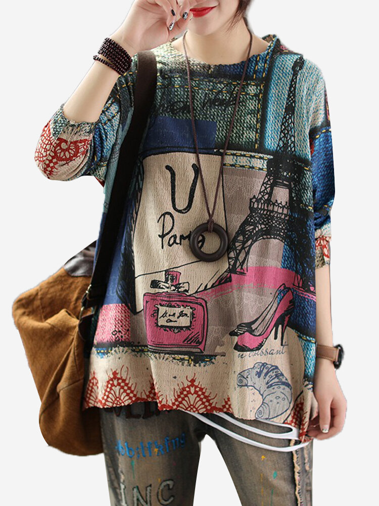 Best Vintage Knit Thin Street Print Long Sleeve Sweater You Can Buy