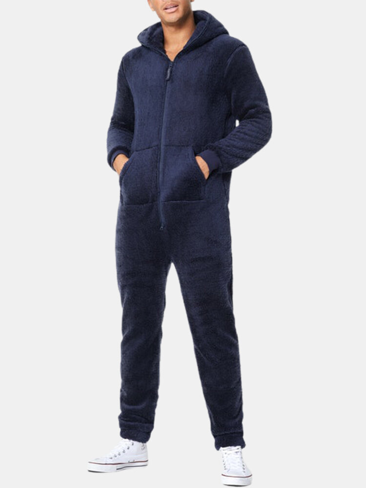 Best Flannel Warm Comfy Zip Up One Piece Long Sleeve Loungewear Hooded Sweatshirt Jogger Jumpsuit You Can Buy