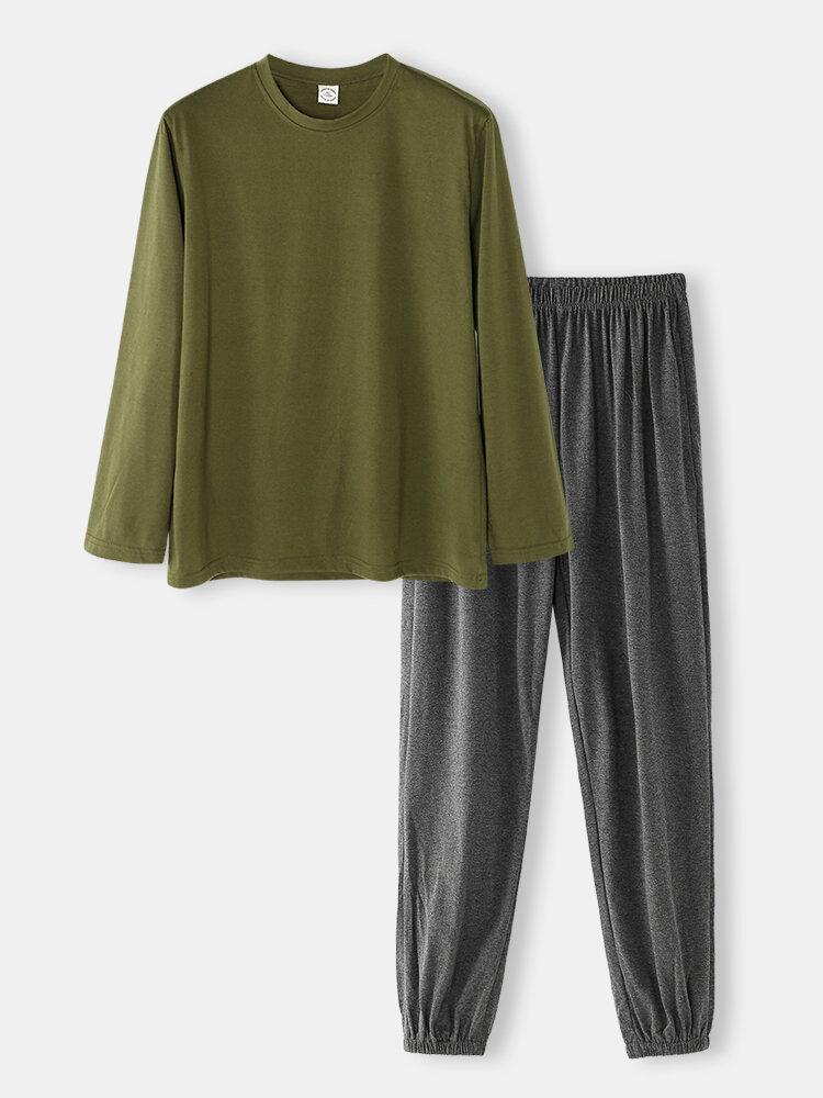 Best Men Cotton Comfy Sleepwear Army Green O-Neck Long Sleeve & Jogger Pants Pocket Pajamas Sets You Can Buy