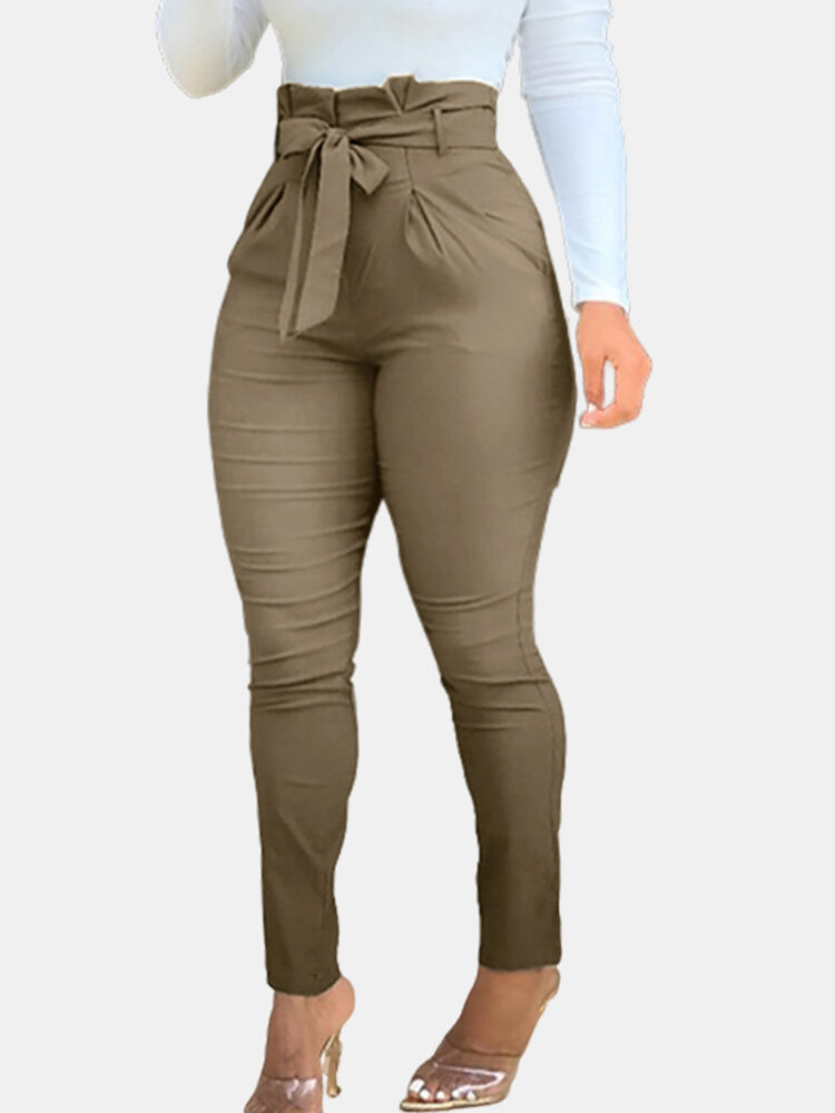 Best Ruffled High Waist Plus Size Pants with Belt You Can Buy
