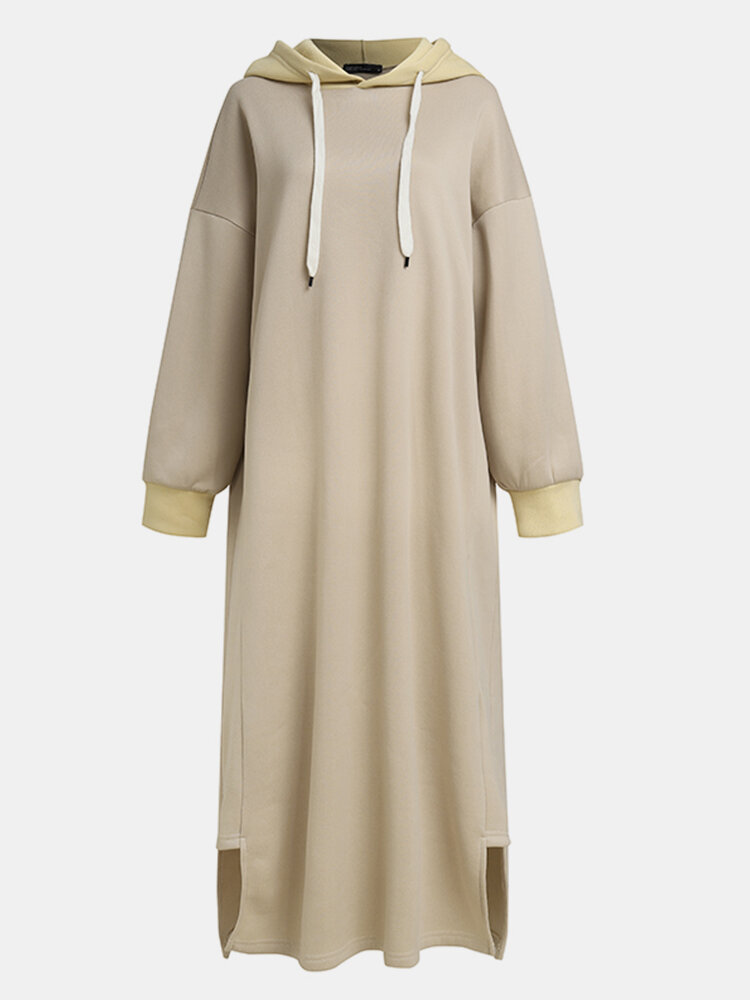 Best Casual Solid Color Side Slit Hooded Long Sleeve Dress You Can Buy