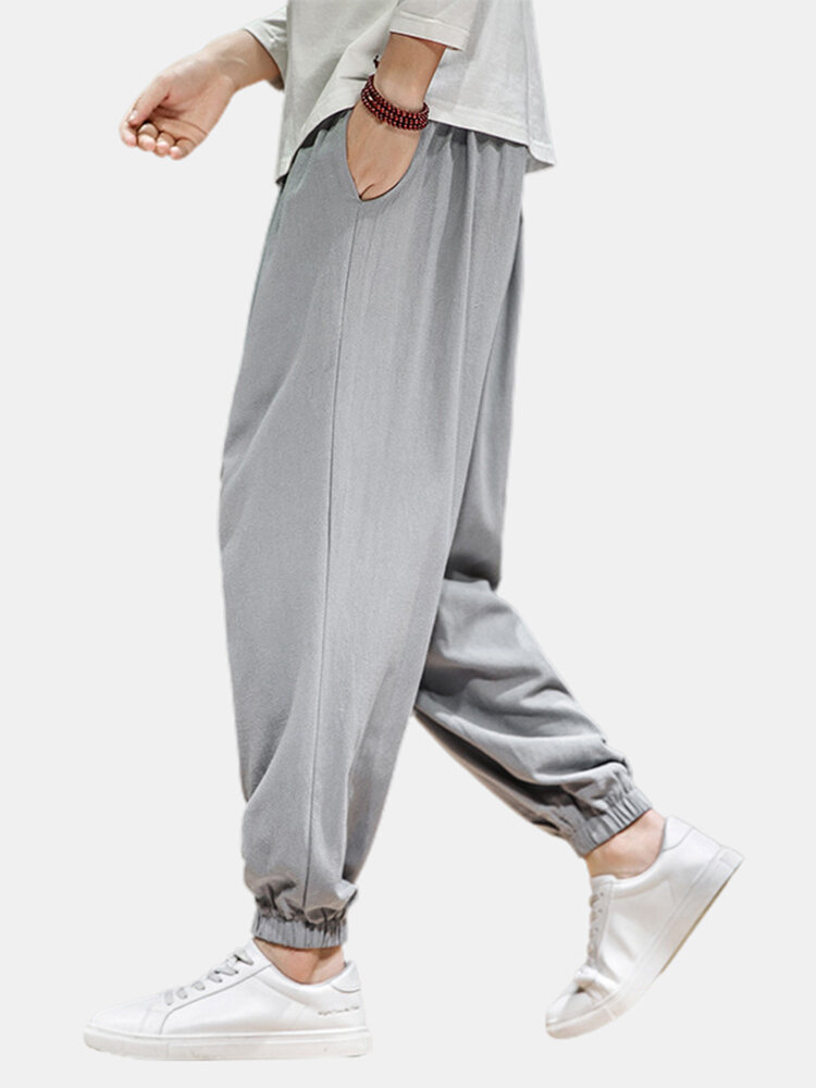 Best Mens Drawstring Elastic Ankle Linen Breathable Casual Loose Harem Pants You Can Buy
