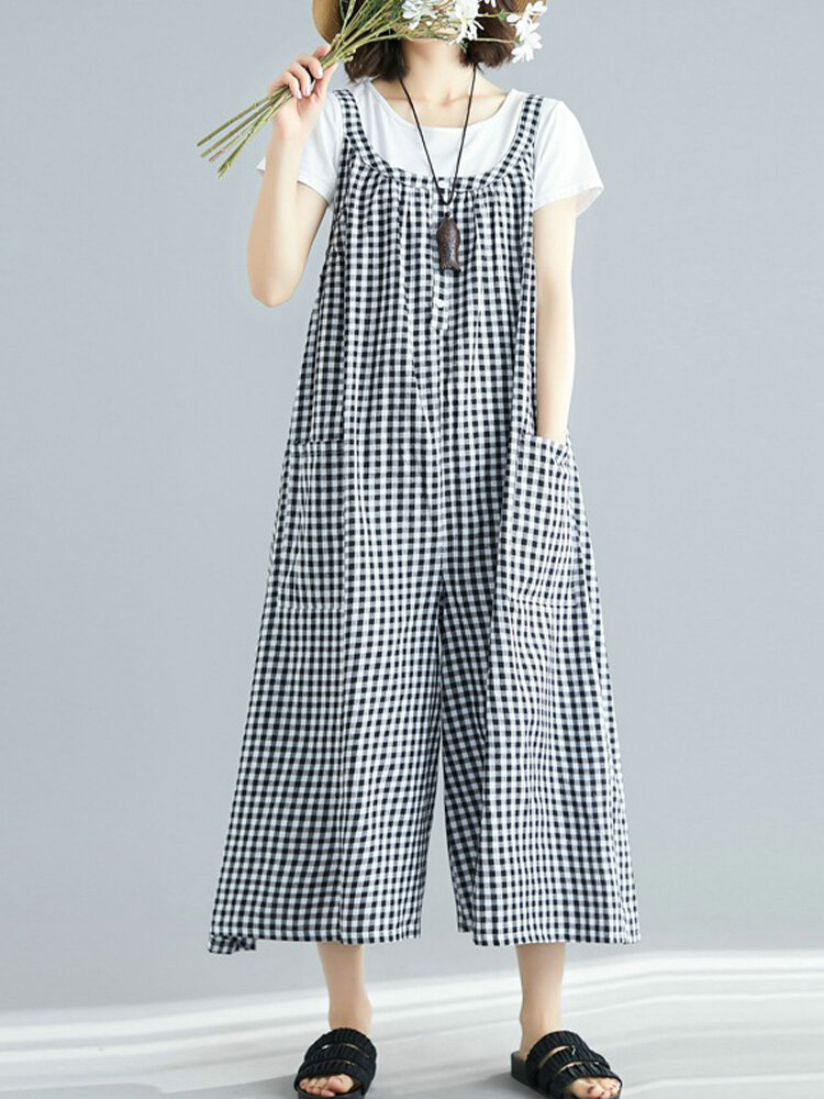 Best Wide Leg Plaid Straps Loose Casual Jumpsuit For Women You Can Buy