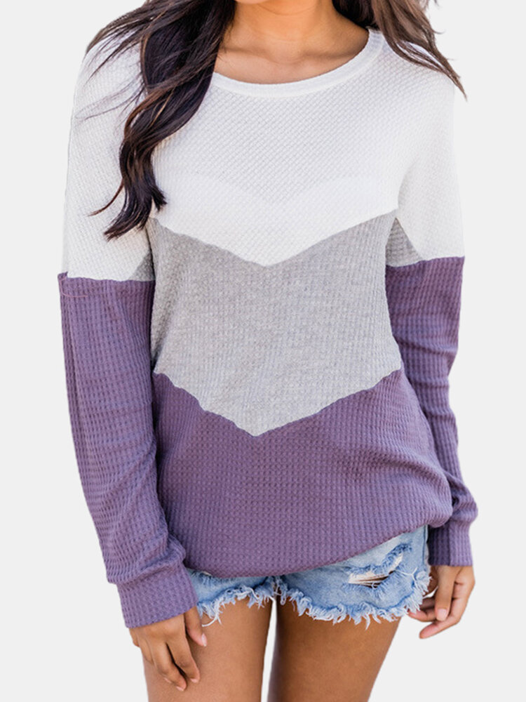 Best Contrast Color Long Sleeve O-neck Patchwork Sweater For Women You Can Buy