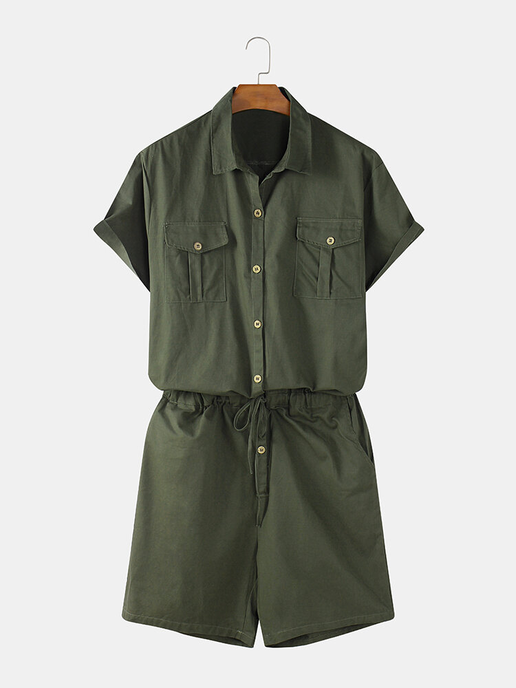 Best Mens Cotton Solid Color Double Pocket Drawstring Waist Short Sleeve Jumpsuit You Can Buy