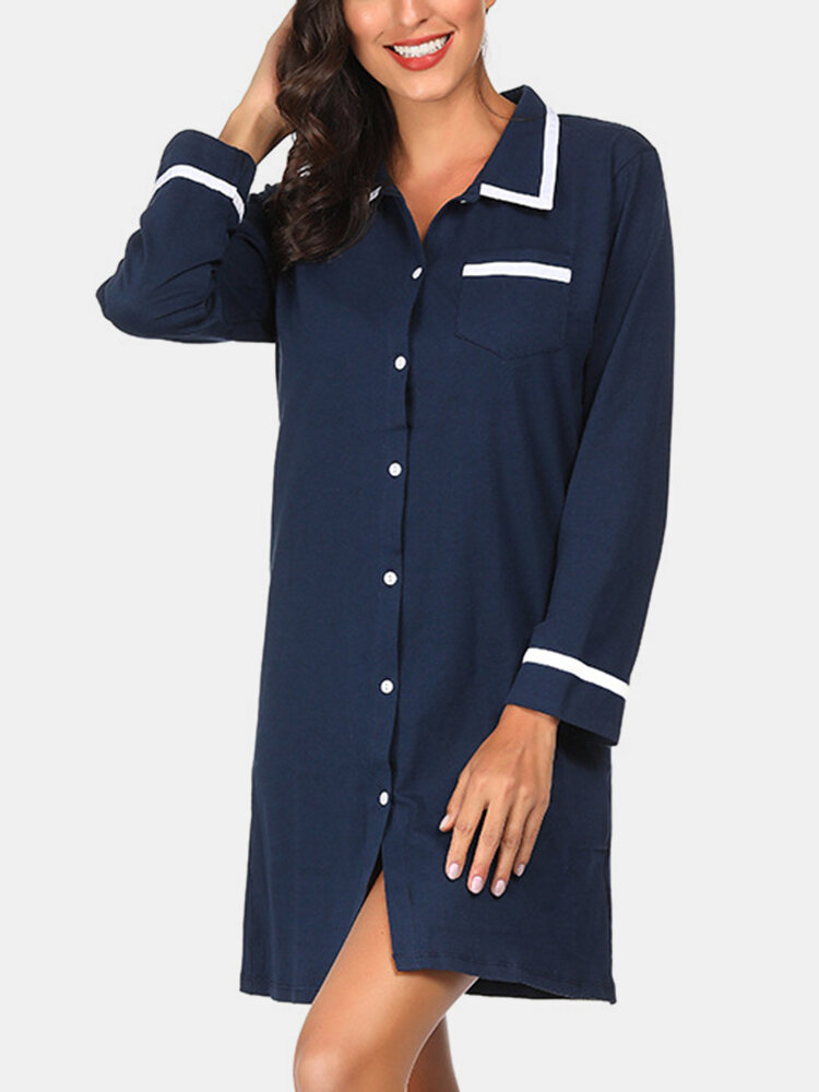 Best Women Plain Cozy Long Sleeve Lapel Collar Shirt Nightdress Home Pajamas With Pocket You Can Buy