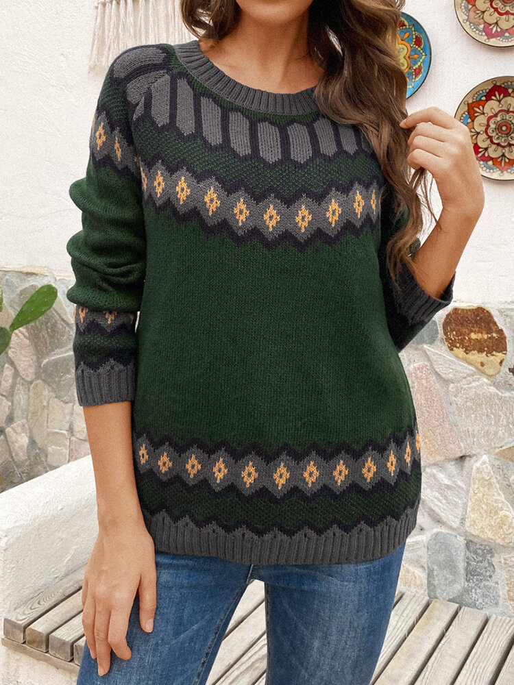 Best Vintage Printed Long Sleeve O-neck Contrast Color Sweater For Women You Can Buy