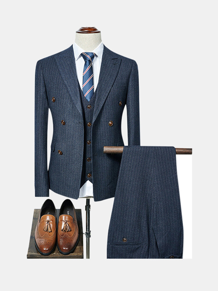 Best Stripes Tree Pieces Double Breasted Slim Blazers for Men You Can Buy