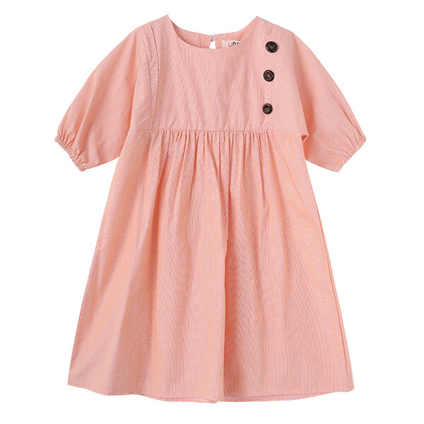 Best Girls Short Sleeve Casual Dresses Cotton Ruffles and Button at Chest Clothing for Kids You Can Buy