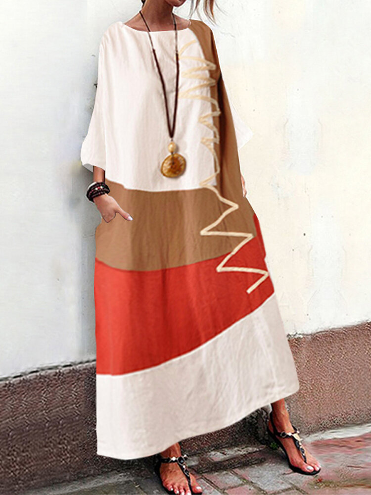 Best Patchwork Print 3/4 Sleeve Plus Size Maxi Dress with Pockets You Can Buy