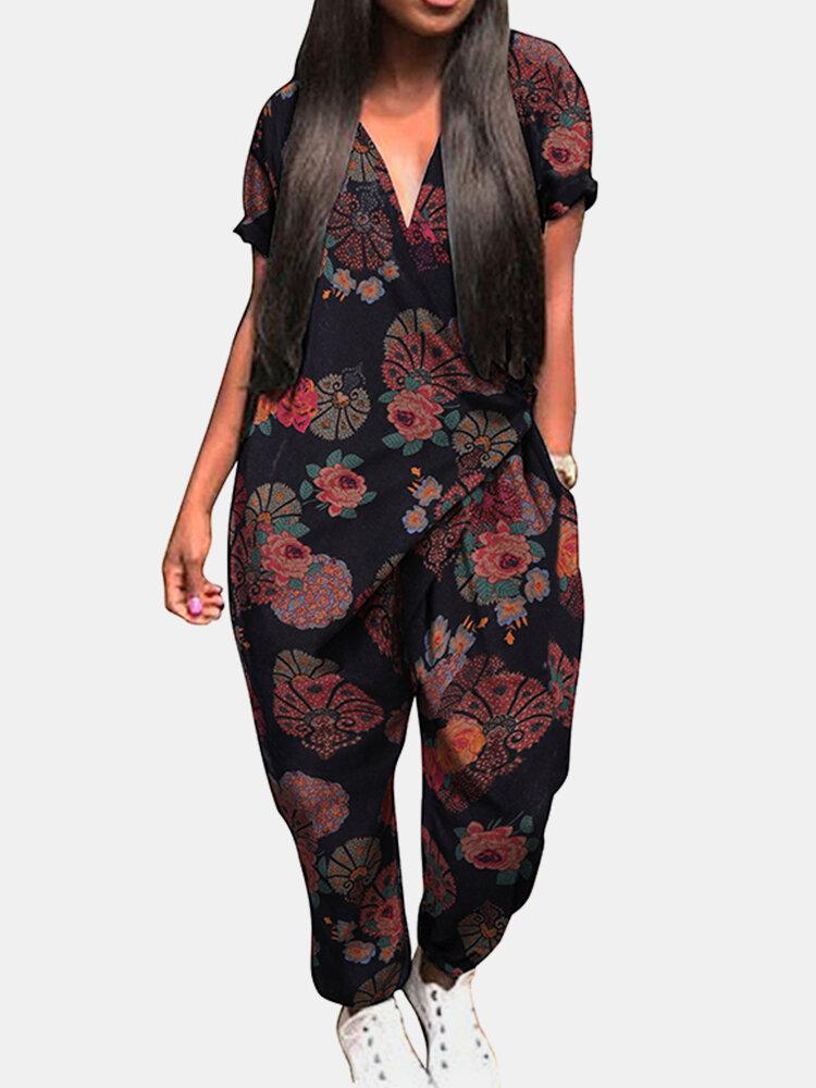 Best Floral Print V-neck Side Pockets Short Sleeve Jumpsuits You Can Buy