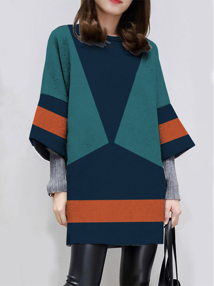 Best Casual Contrast Color Long Sleeve O-neck Dress For Women You Can Buy