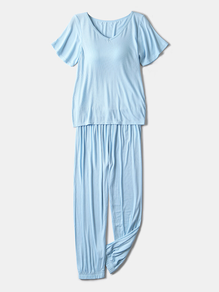 Best Women Ribbed V-Neck Softies Pajamas Set With Chest Pads Elastic Waist Beam Feet Sleepwear You Can Buy