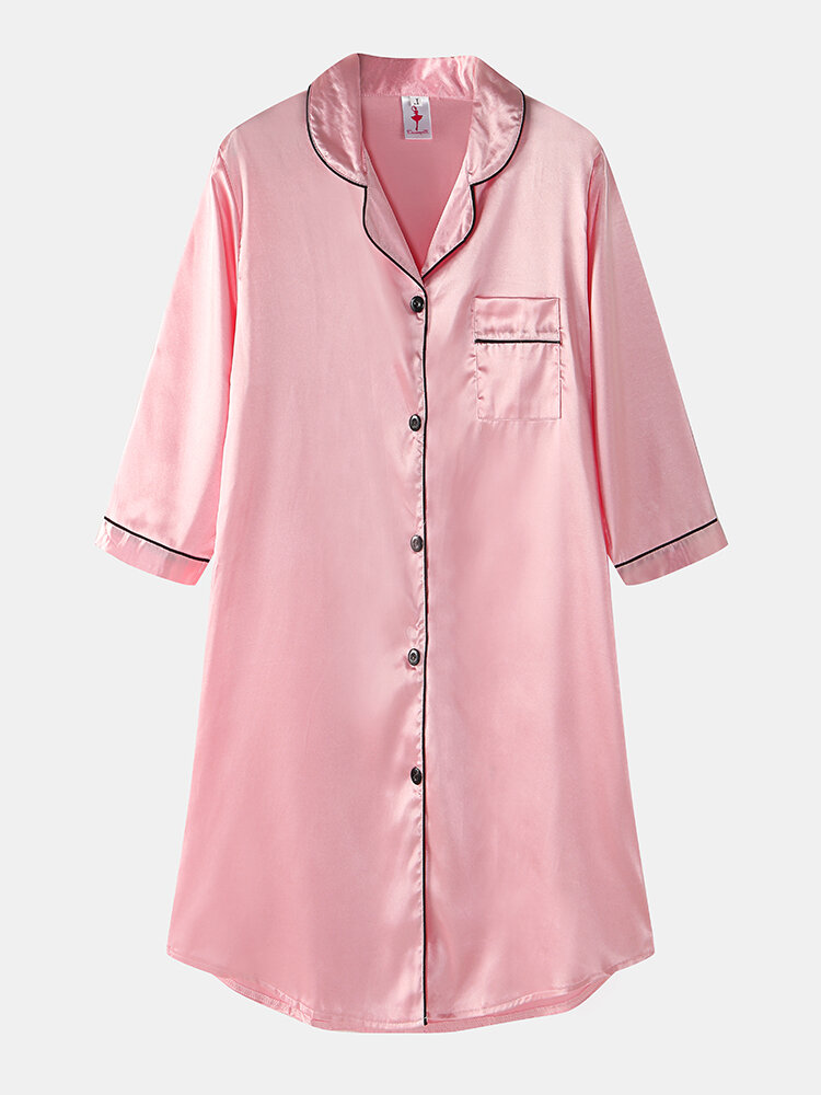 Best Plus Size Women Ice Silk Chest Pocket 3/4 Sleeve Shirt Cozy Nightdress With Contrast Binding You Can Buy