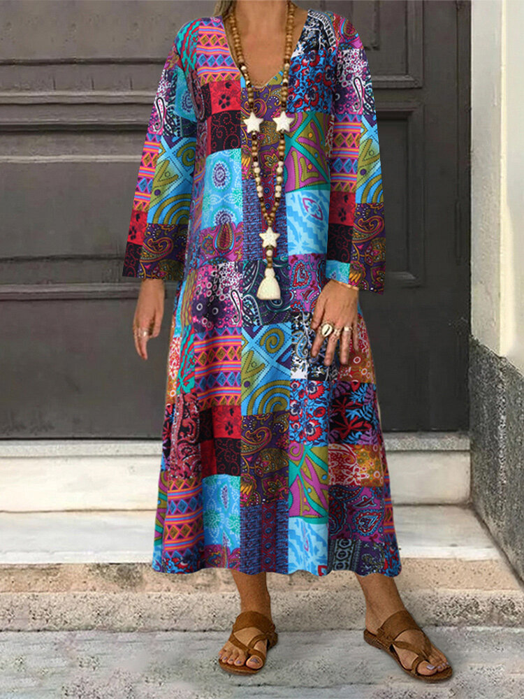 Best Ethnic Style Print Long Sleeve Plus Size Dress You Can Buy