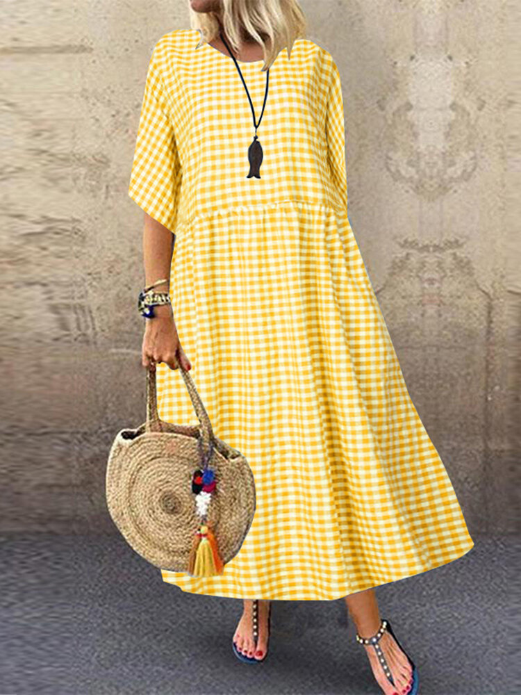 Best Casual Plaid Crewneck Short Sleeve Plus Size Dress You Can Buy