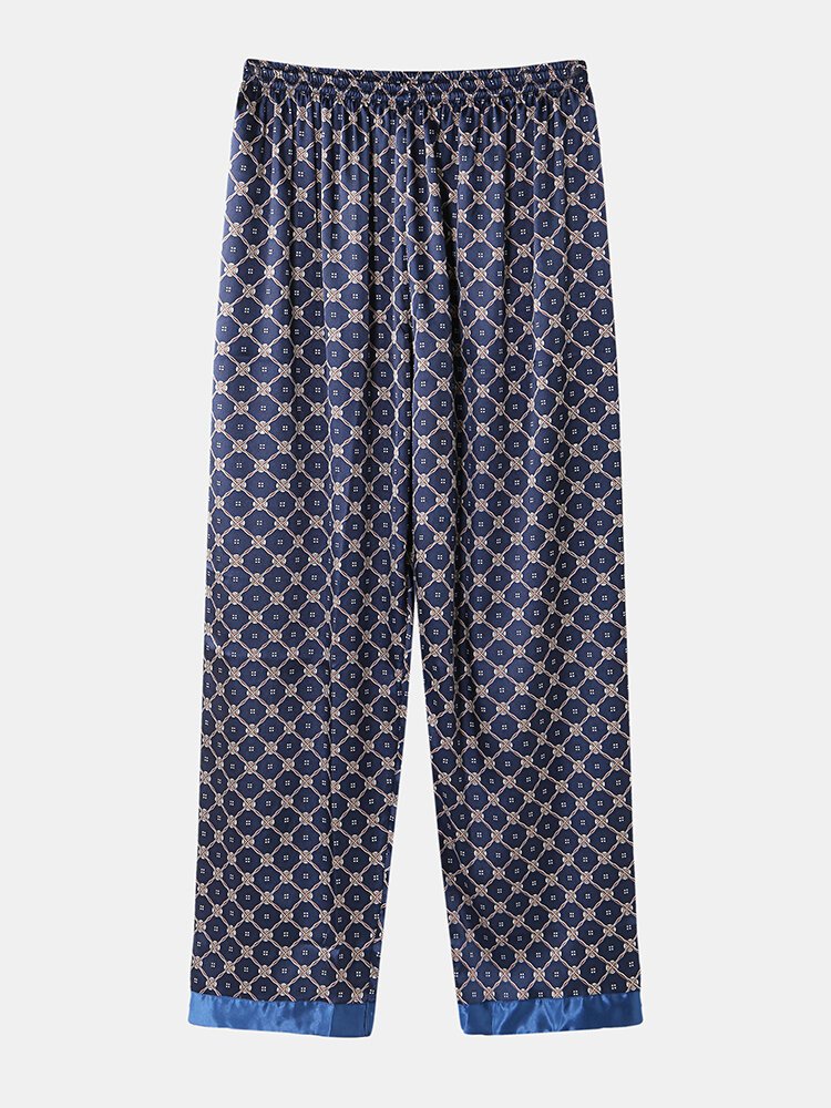 Best Mens Geometric Print Faux Silk Smooth Patchwork Pajamas Pants You Can Buy