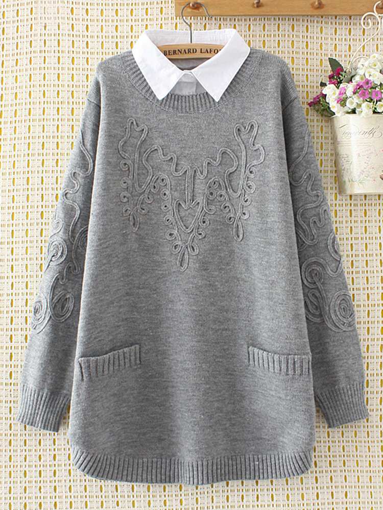 Best Casual Lapel Pockets Sweaters Fake Two Pieces For Women You Can Buy