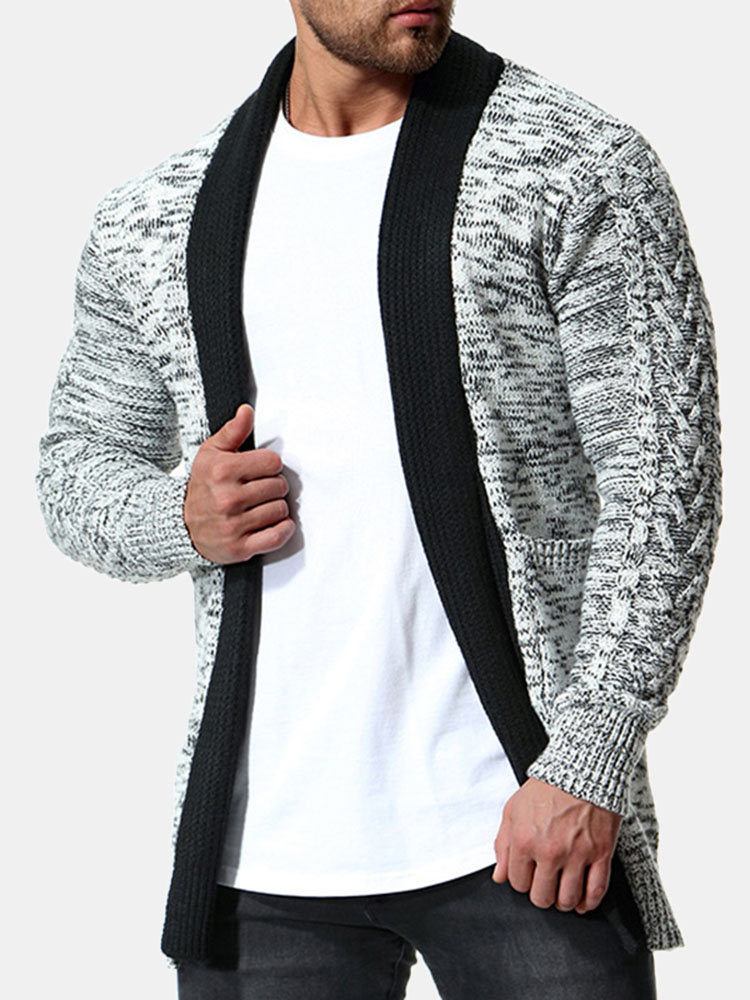 Best Mens Causal Cotton Hit Color Stitching Thicken Fashion Shawl Collar Knit Cardigan You Can Buy