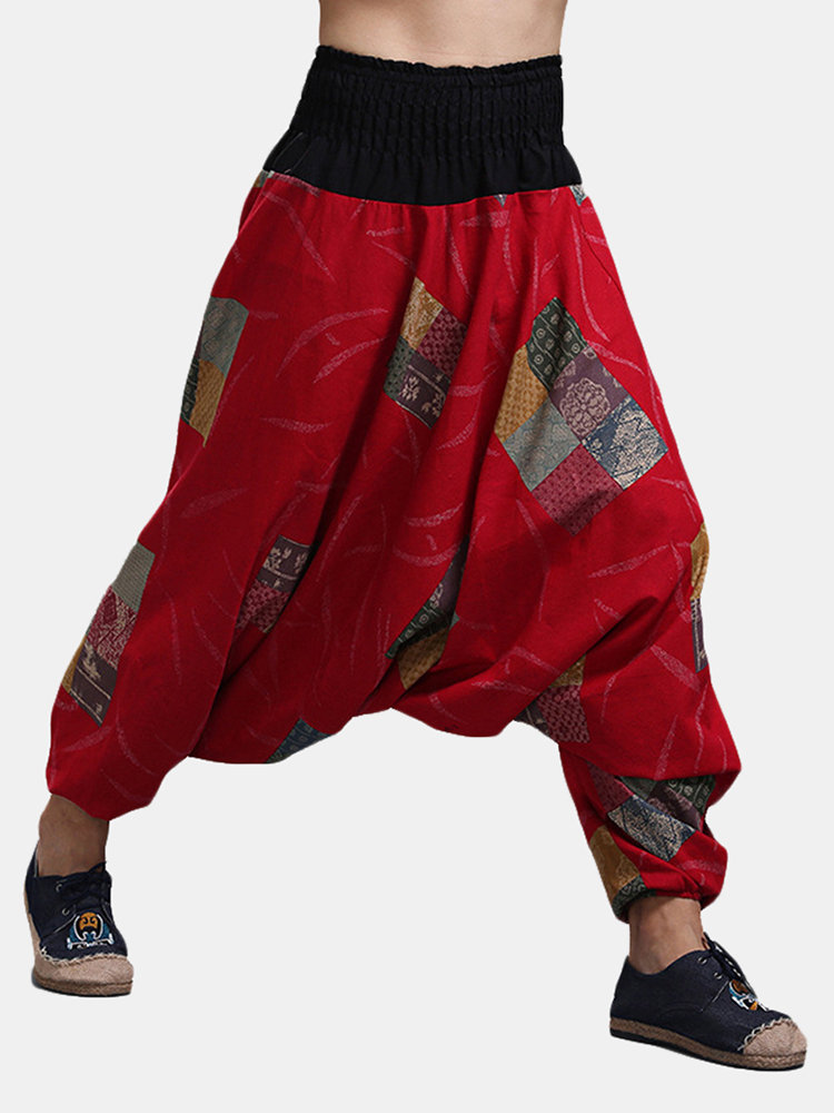 Best Mens Casual Baggy Cotton Harem Pants Ethnic Style Printed Loose Wide Leg Pants Lantern Pants You Can Buy