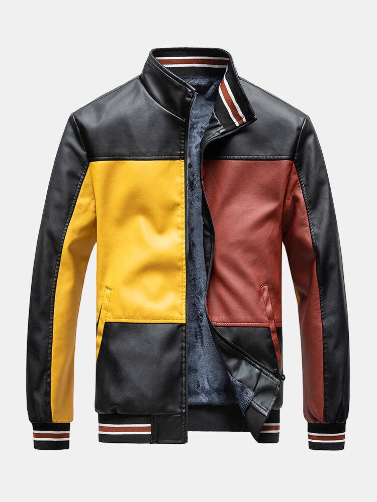 Best Mens Colorblock Patchwork PU Leather Zip Front Lapel Collar Thicken Jackets You Can Buy