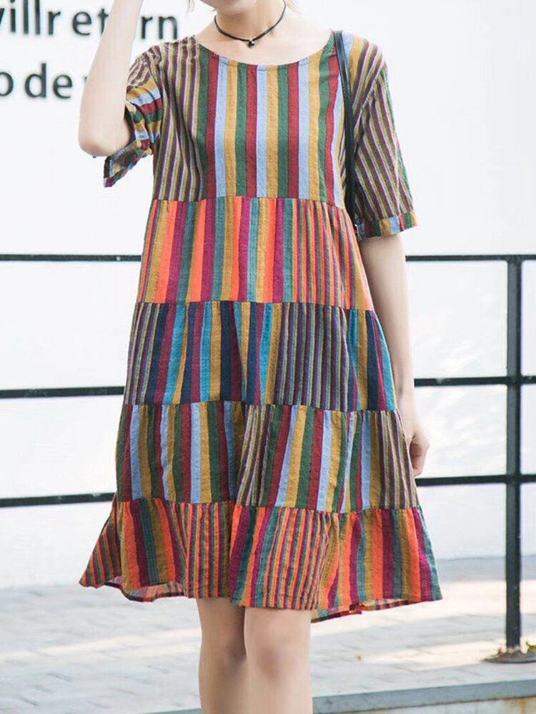 Best Stripe Multi-color Short Sleeve O-neck Casual Dresses You Can Buy