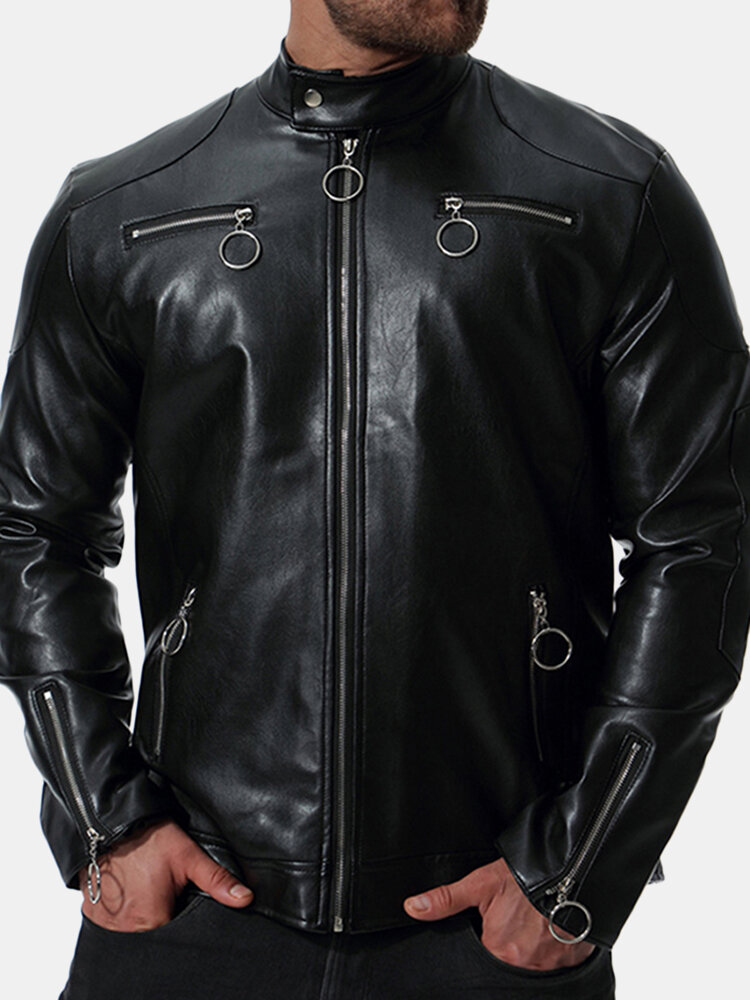 Best Mens Motorcycle PU Leather Multi-zipper Stand Collar Zip Up Casual Cool Jacket You Can Buy