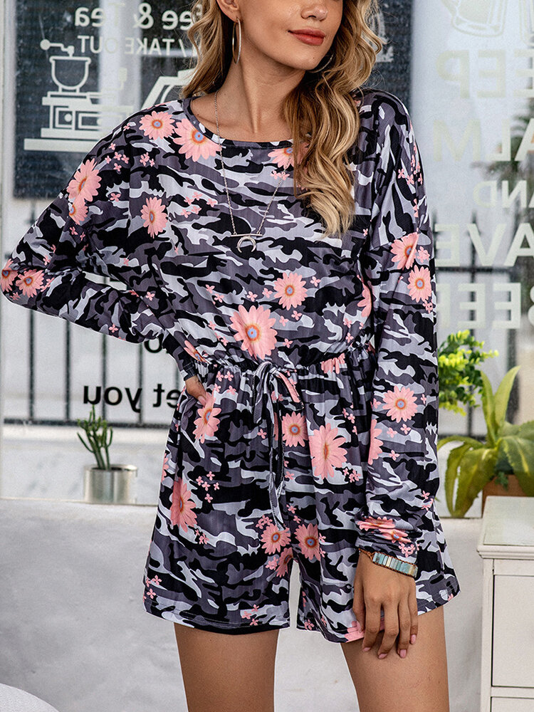 Best Plus Size Women Daisy Camo Print Ribbed Onesies Pajamas With Waist Tie You Can Buy