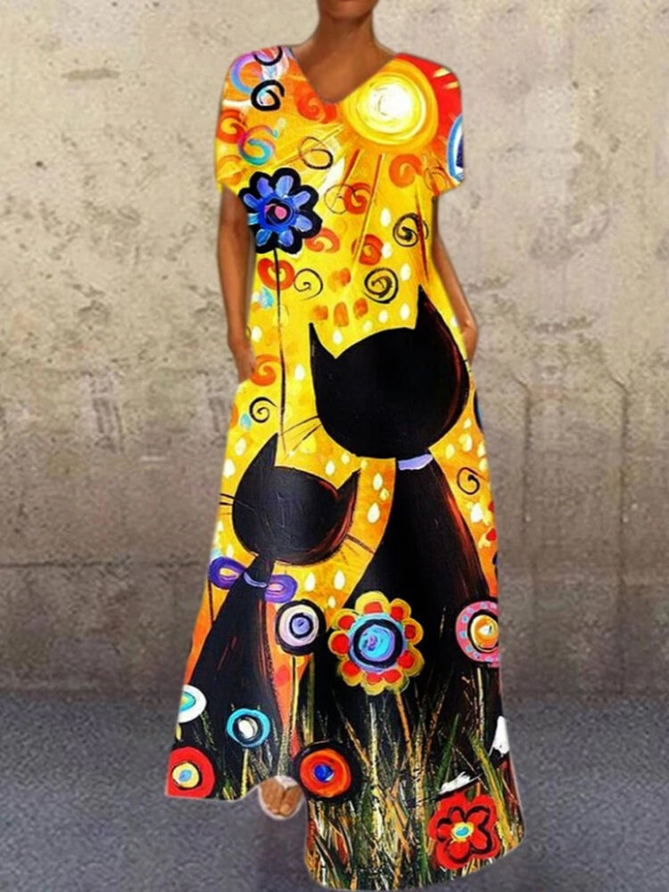 Best Cartoon Print V-neck Plus Size Maxi Dress for Women You Can Buy