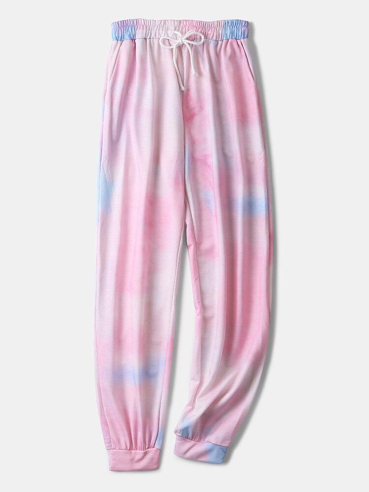 Best Plus Size Women Tie Dye Print Drawstring Beam Feet Pants Pajamas Bottoms You Can Buy